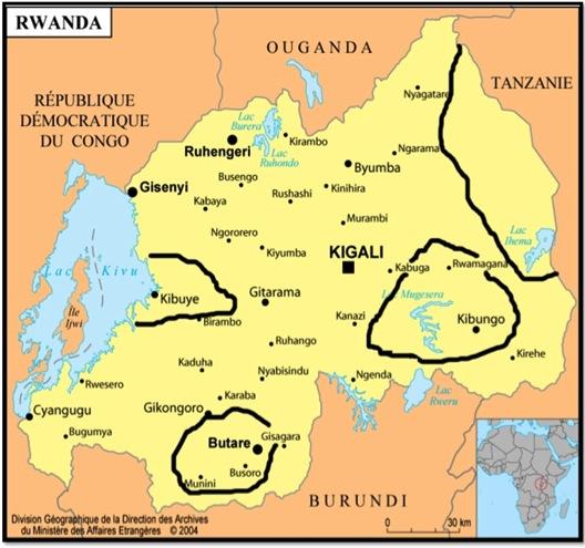 carte rwanda topo